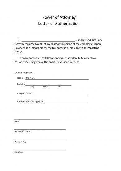 power of attorney form letter