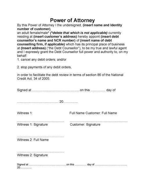 power of attorney form in south africa  Bank Power Of Attorney Form South Africa - Templates ..