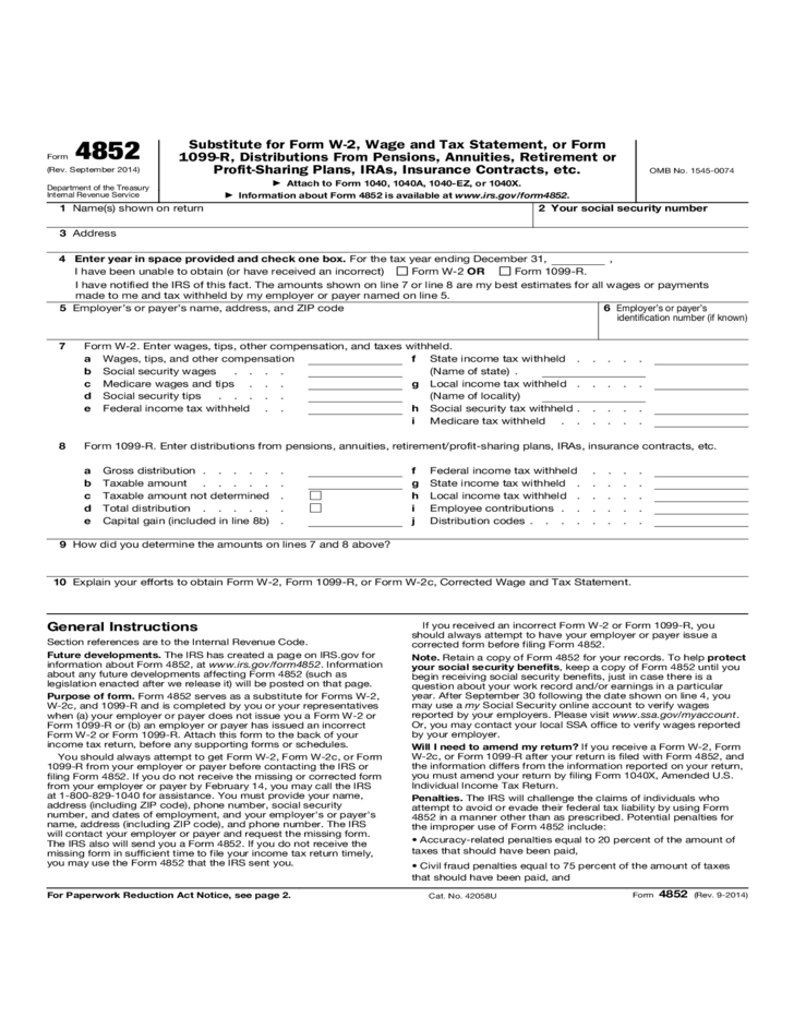 1099 r form  Form 4852 - Substitute for Form W-2, Wage and Tax ..