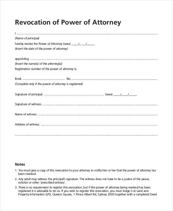 revocation of power of attorney form pdf  FREE 30+ Sample Power of Attorney Forms in PDF - revocation of power of attorney form pdf