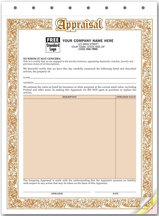 941 form pdf  Jewelry Appraisal Form | Free Shipping - 941 form pdf