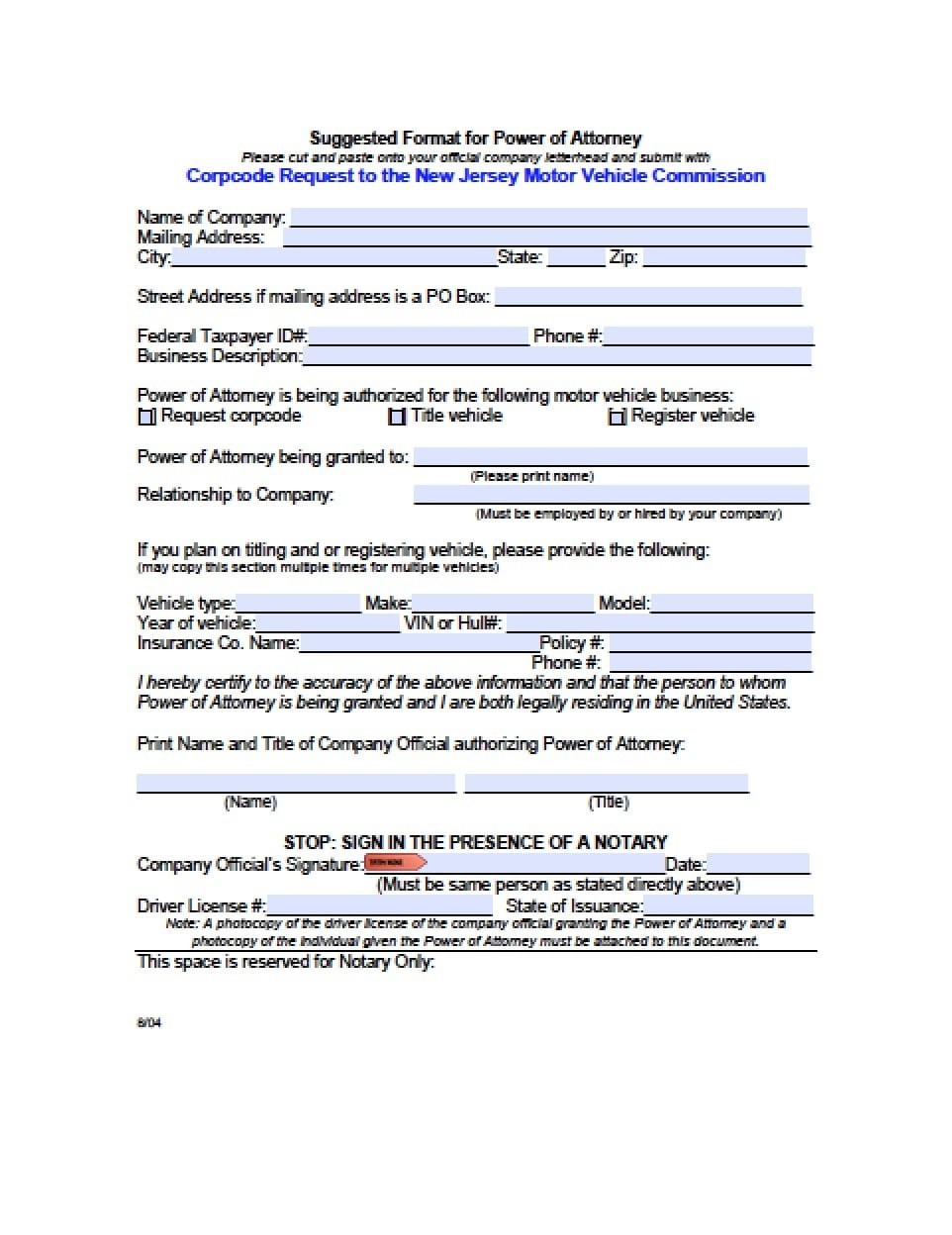 power of attorney form nj Nj Division Of Motor Vehicles Forms - Impre Media