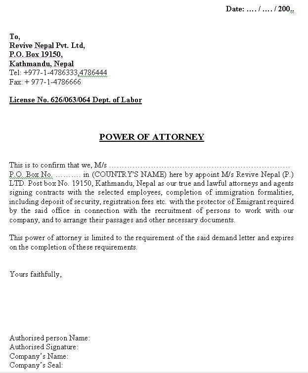 power of attorney form letter  Printable Sample Power Of Attorney Letter Form   Real ..