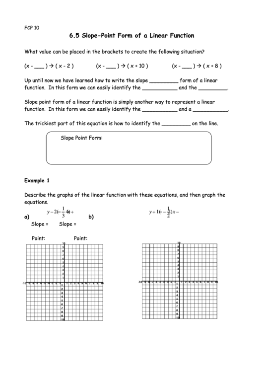 point slope form quiz pdf  Slope Point Form Of A Linear Function Worksheet printable ..