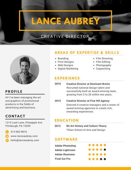 resume template director  +100 modèles de CV gratuits à télécharger - Canva - resume template director