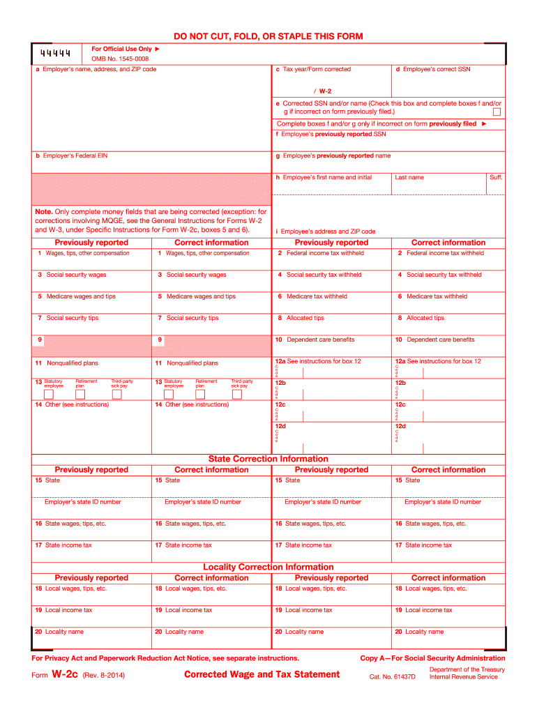 printable w2 form 2019  2014-2020 Form IRS W-2C Fill Online, Printable, Fillable ..
