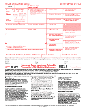 printable w2 form 2019  2015 Form IRS W-3PR Fill Online, Printable, Fillable ..