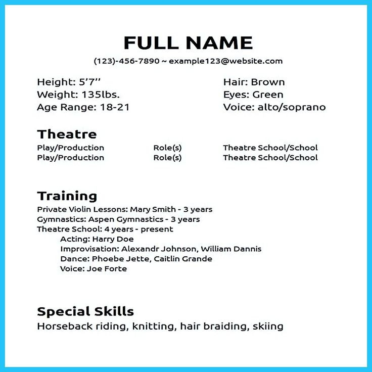 beginners acting resume template no experience  Actor resume sample presents how you will make your ..