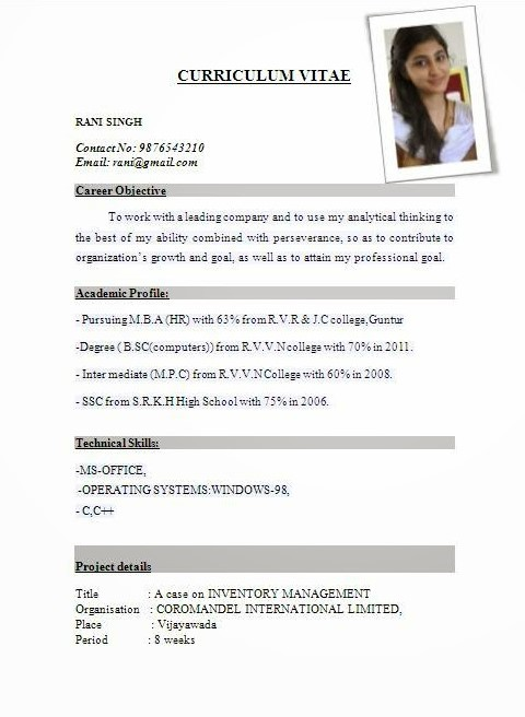 resume templates  Best Resume Formats For India – Download - resume templates