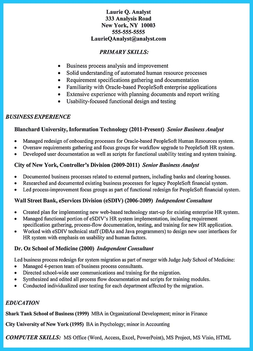 resume template analyst  Best Secrets about Creating Effective Business Systems ..