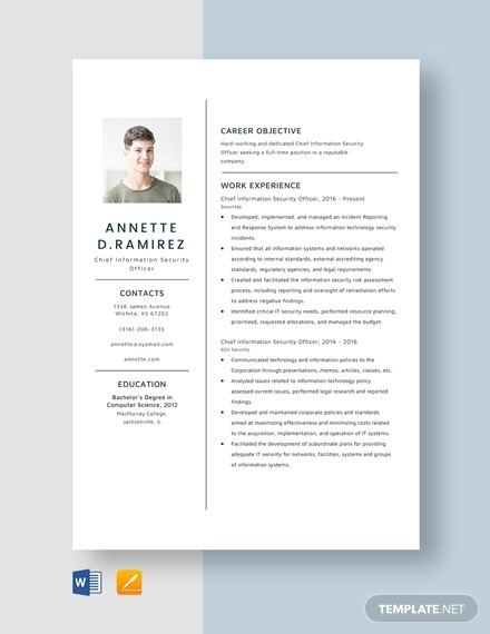 a resume template on word  Chief Information Security Officer Resume Template - Word ..