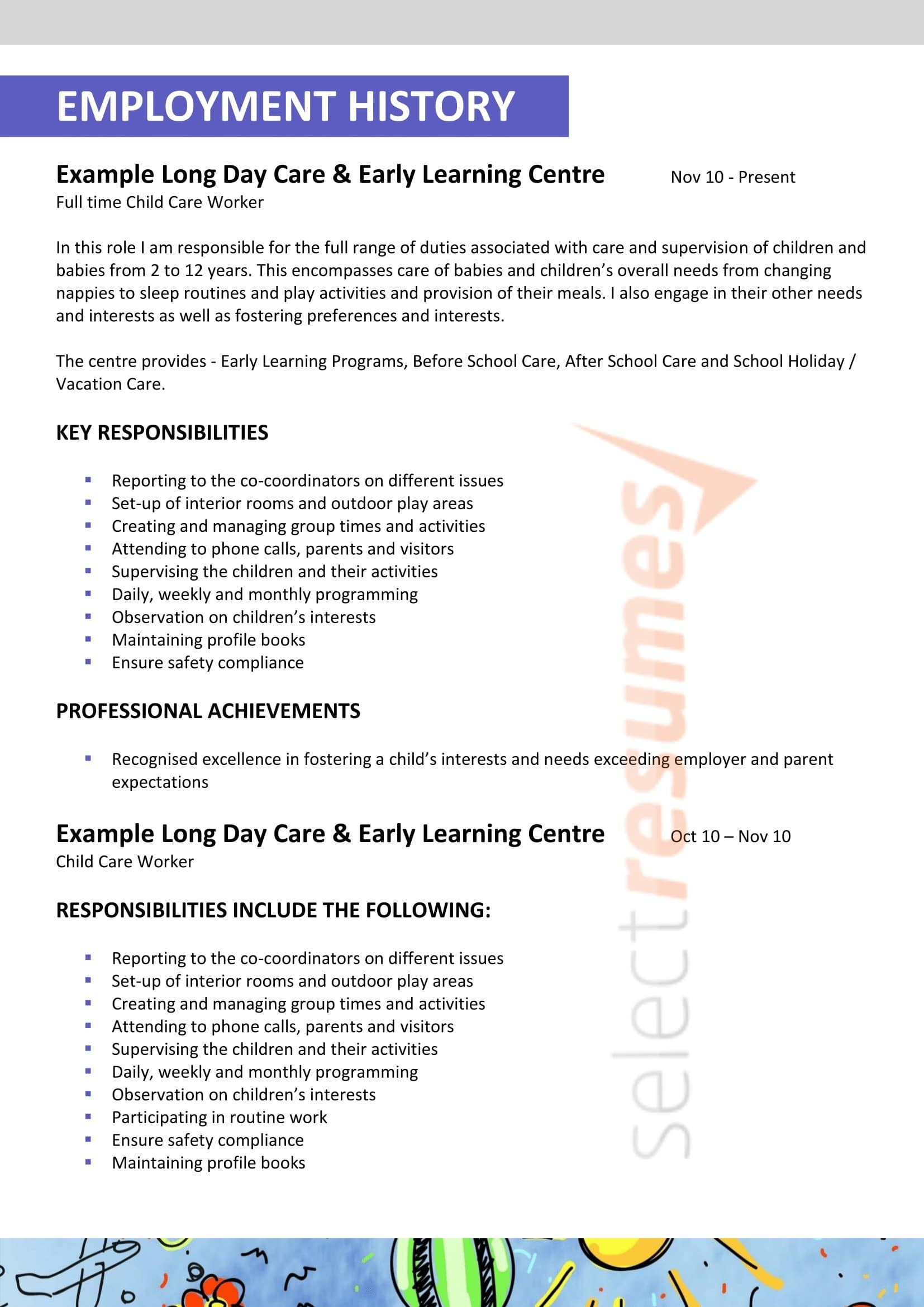 resume template director  Child Care / Teacher Design 209 - Select Resumes - resume template director