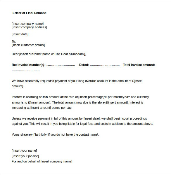 7 day demand letter template  Compensation Letter For Damages – printable receipt template - 7 day demand letter template