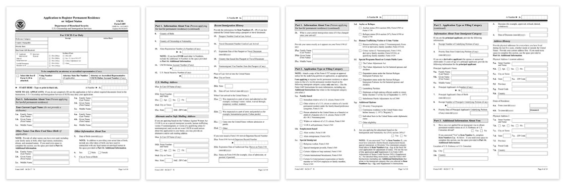 form i-485 example  Form I-485 Sample PDF Download | USCIS Form Samples - form i-485 example
