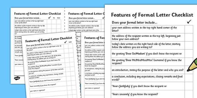 formal letter template ks2  Formal Letter Writing Checklist - ESL Writing a Formal Letter - formal letter template ks2