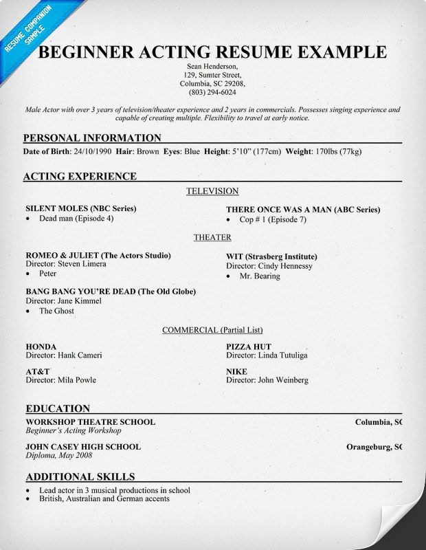 beginners acting resume template no experience  Free Beginner #Acting Resume Sample (resumecompanion.com ..