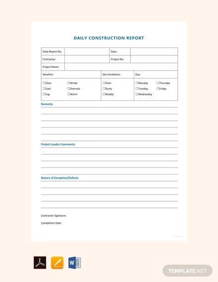 letter template google docs  FREE Daily Construction Report Sample - PDF | Word | Apple ..