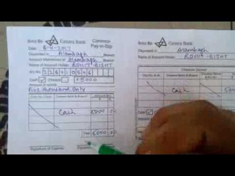 cheque deposit form sbi  How to fill deposit slip of Canara Bank in Hindi - YouTube - cheque deposit form sbi