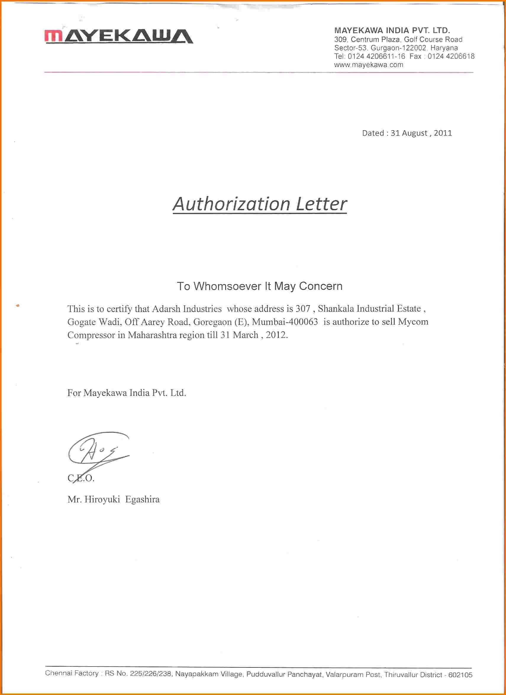 letter template format  How to make authorization letter | Authorization Letter Pdf - letter template format