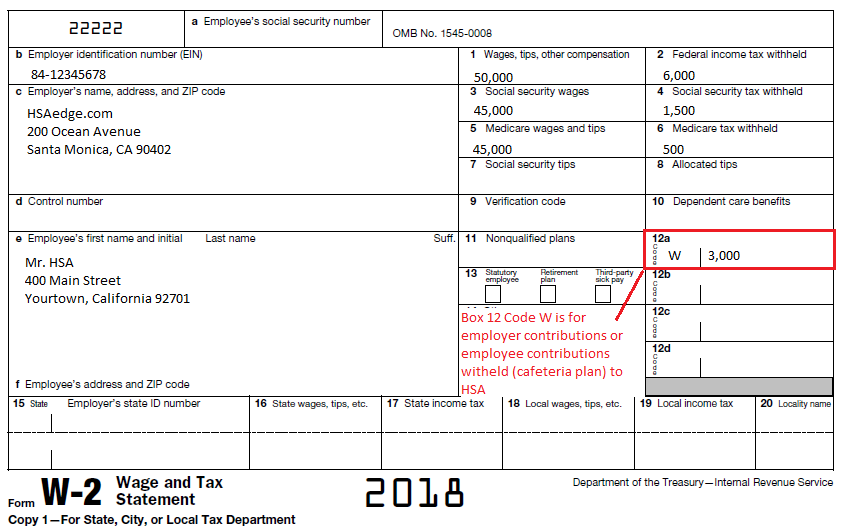 "w2 form line 12b  HSA Employer Contributions on W2 Box 12 ""W"" 