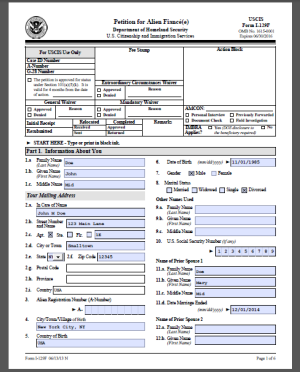 i 94 form online download  I-129F Sample Form (Petition for Alien Fiance) « Visa Tutor - i 94 form online download
