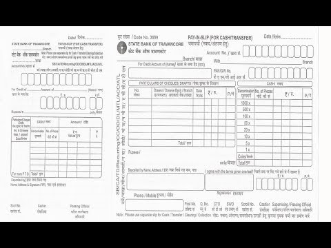sbi cash deposit form  IN-How to fill SBT Bank deposit slip for cheque or cash ..