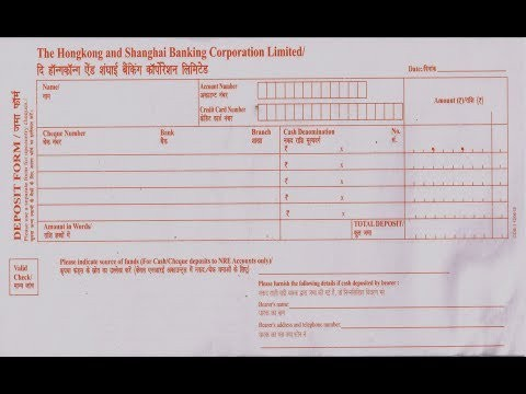 deposit form template  IN- HSBC How to fill Deposit slip - YouTube - deposit form template