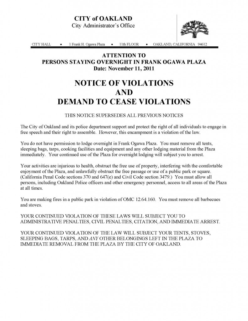 7 day demand letter template  Occupy Oakland Eviction Notice | Public Intelligence - 7 day demand letter template
