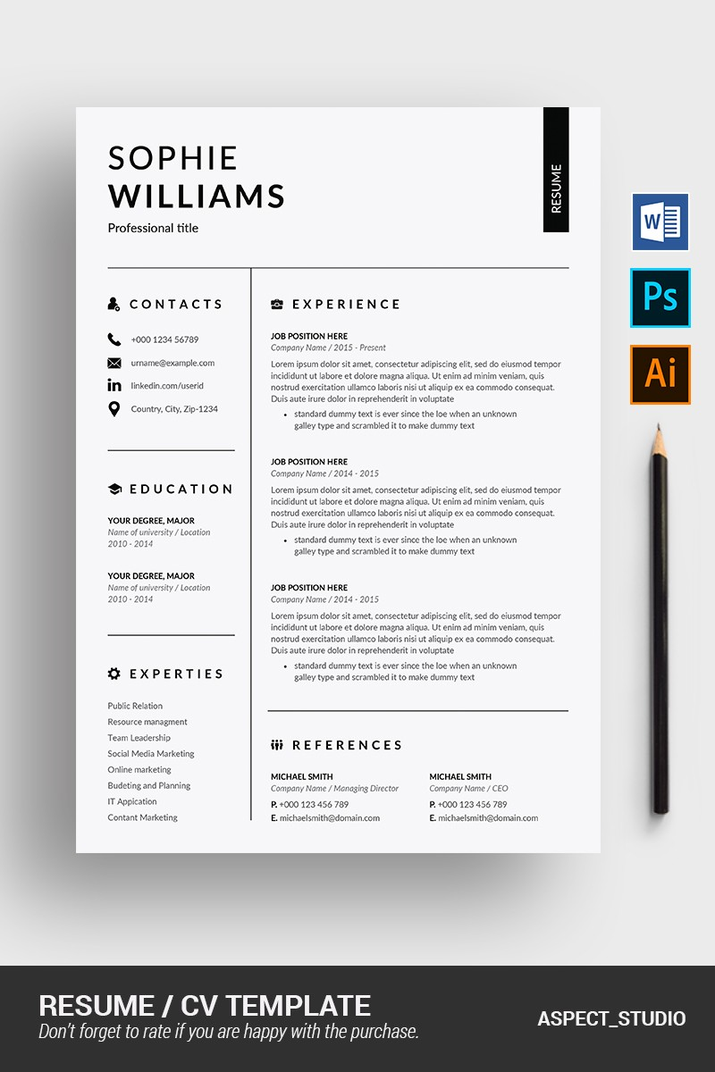 a resume template on word  Printable Resume Templates | TemplateMonster - a resume template on word