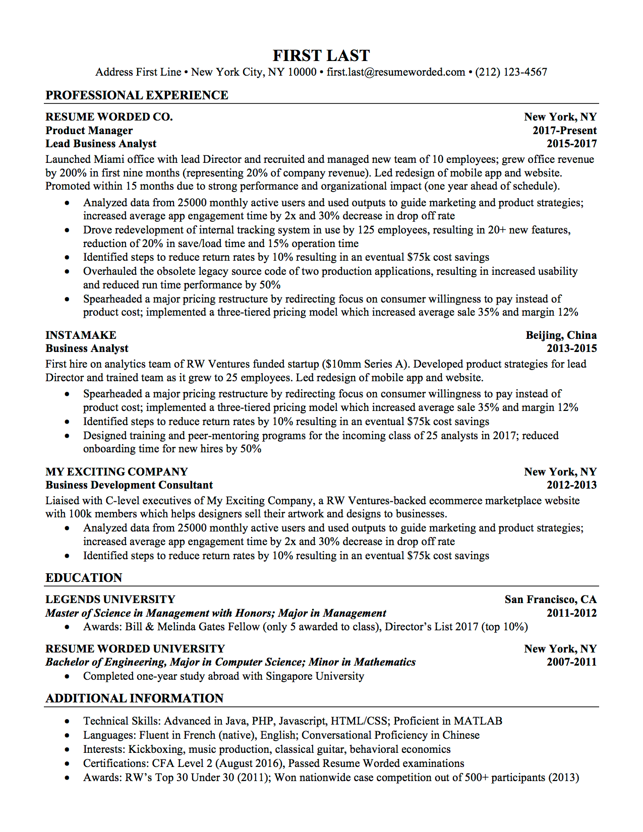 resume template google docs free  Professional ATS Resume Templates for Experienced Hires ..