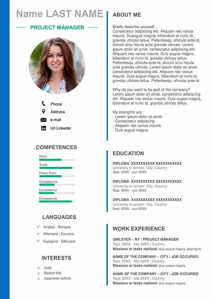 resume template high school senior  Project Manager Resume Template - Download for Word | Free CV - resume template high school senior