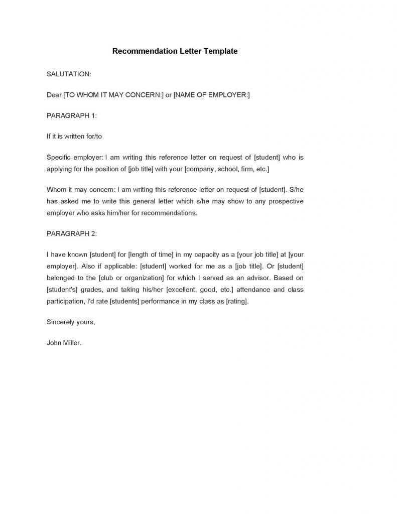 recommendation letter template for job  Recommendation Letter Template - PDF Format | e-database