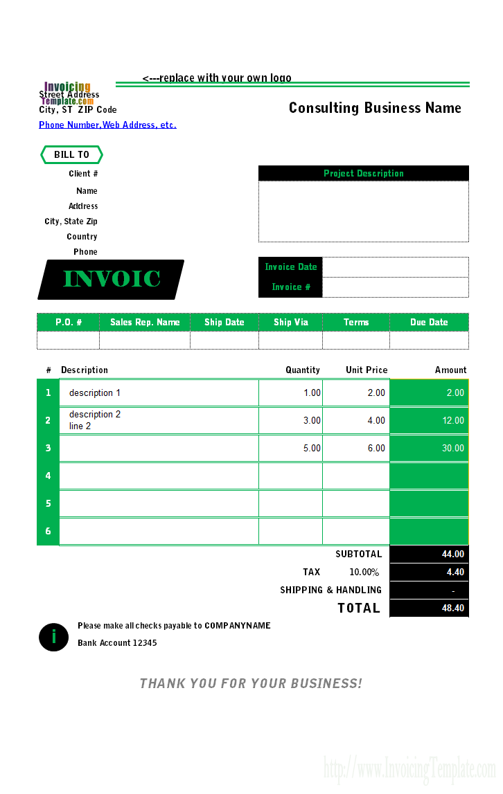 deposit form excel template  Recruitment Agency Invoice Template - deposit form excel template
