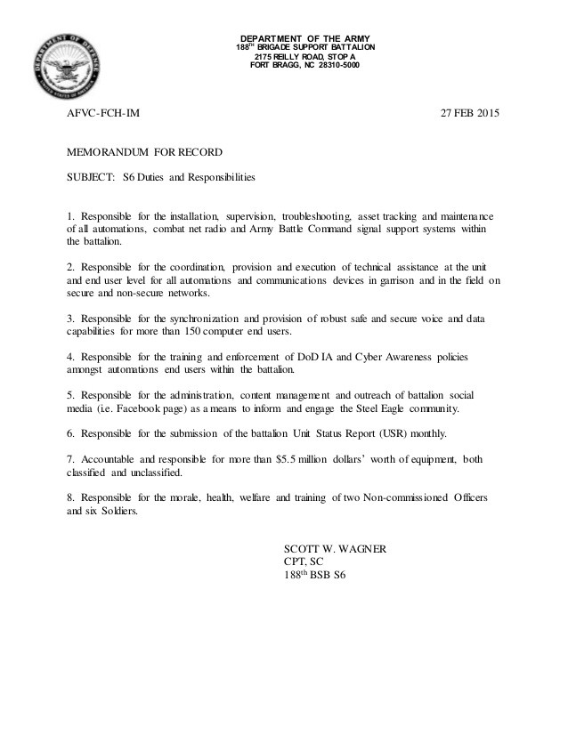 disciplinary letter template nz  S6 Duties and Responsibilities Memo - disciplinary letter template nz