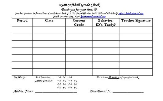 blank sports physical form  Softball / Blank Grade Check Form - blank sports physical form