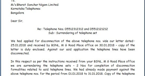 letter template enclosed documents  Telephone Surrender Letter Sample Format for BSNL and MTNL - letter template enclosed documents
