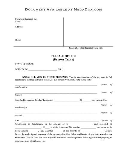 quit claim deed form wisconsin  Texas Release of Deed of Trust | Legal Forms and Business ..