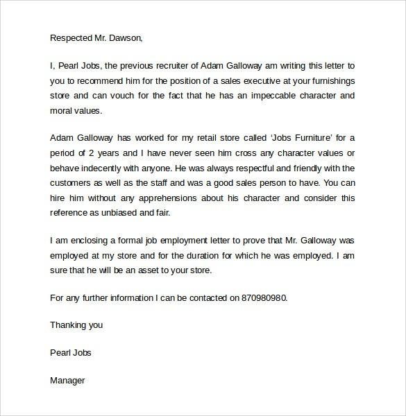 recommendation letter template for job  Work Reference Letters– Samples, Examples & Formats ..