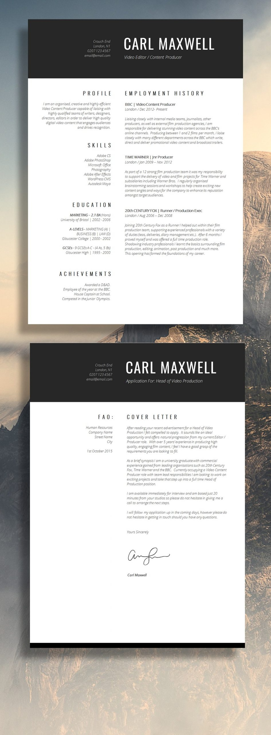 1 page resume template word  12 Brilliant CV Designs That You'll Want To Steal… | Guru - 1 page resume template word