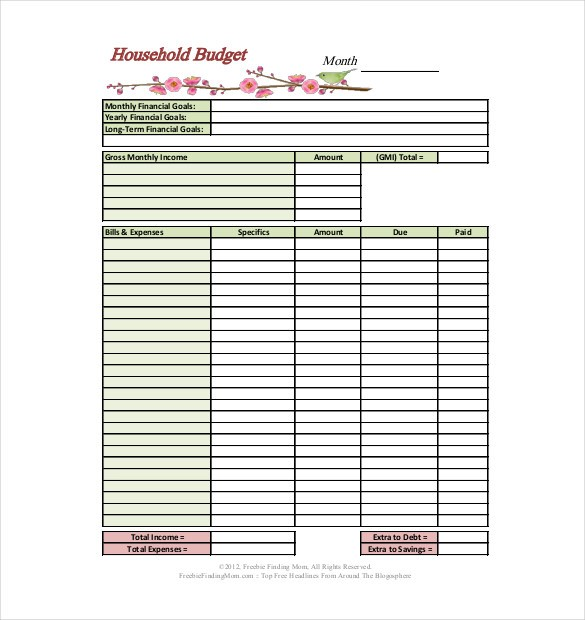detailed budget template  13+ Household Budget Templates - Free Sample, Example ..