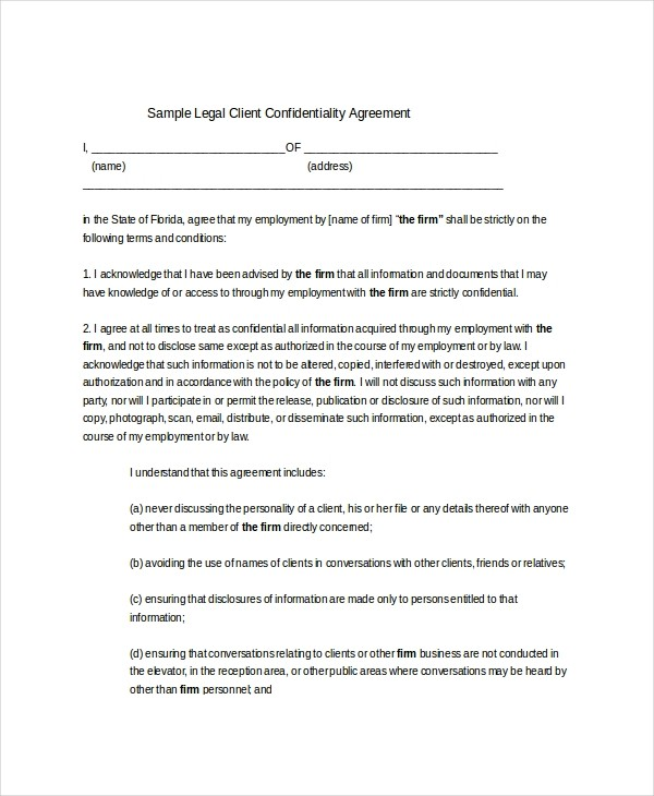 client contract template  14+ Client Confidentiality Agreement Templates - Free ..