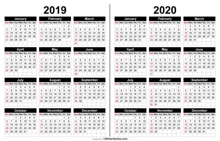 calendar template large boxes  2019 and 2020 Calendar Printable | Printable yearly ..