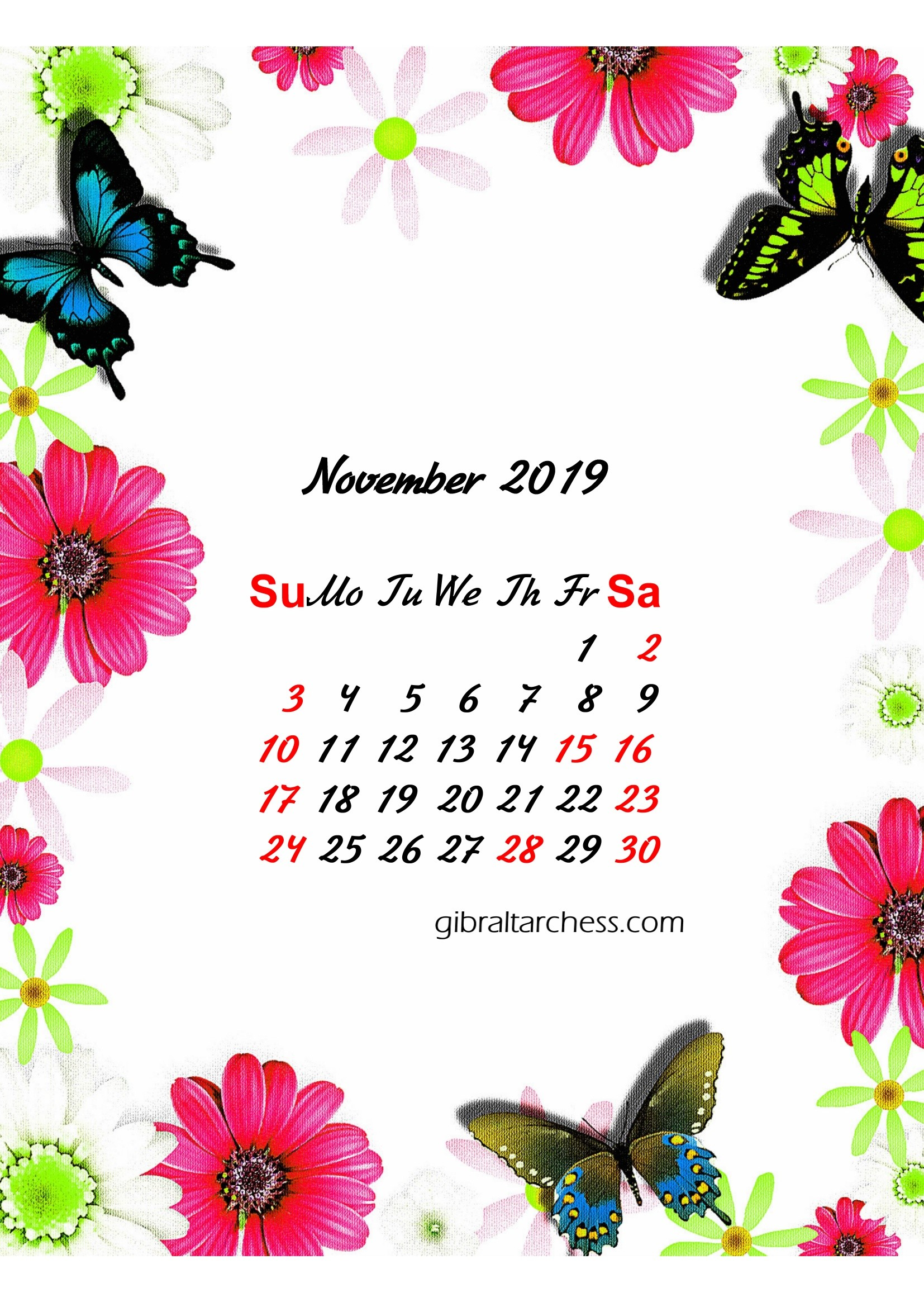 calendar template 2019 august  2019 Calendar Floral Monthly Border Printable Download For ..