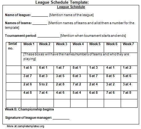 6 team league schedule template  27 Images of 6 Team League Schedule Template | leseriail