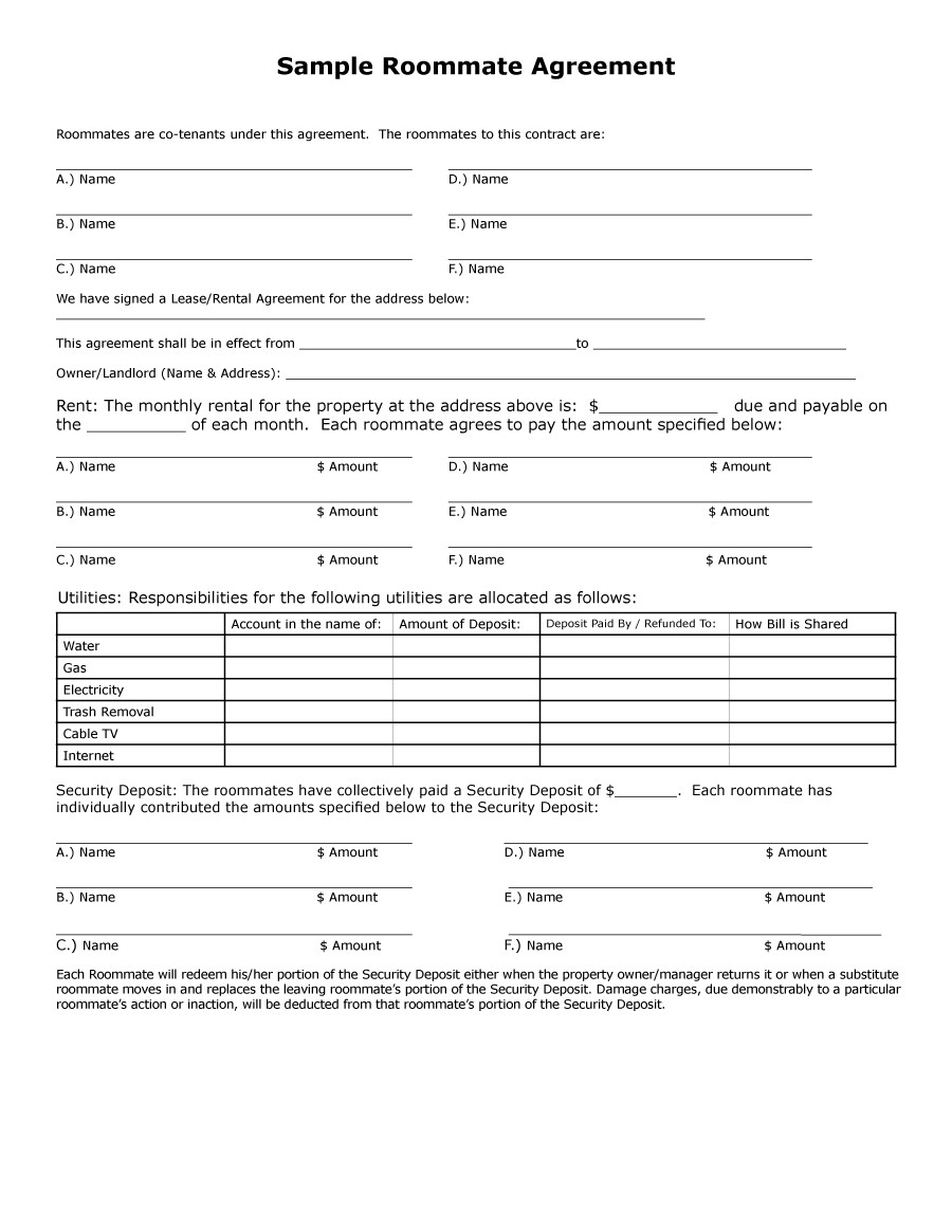 roommate contract template  40+ Free Roommate Agreement Templates & Forms (Word, PDF) - roommate contract template