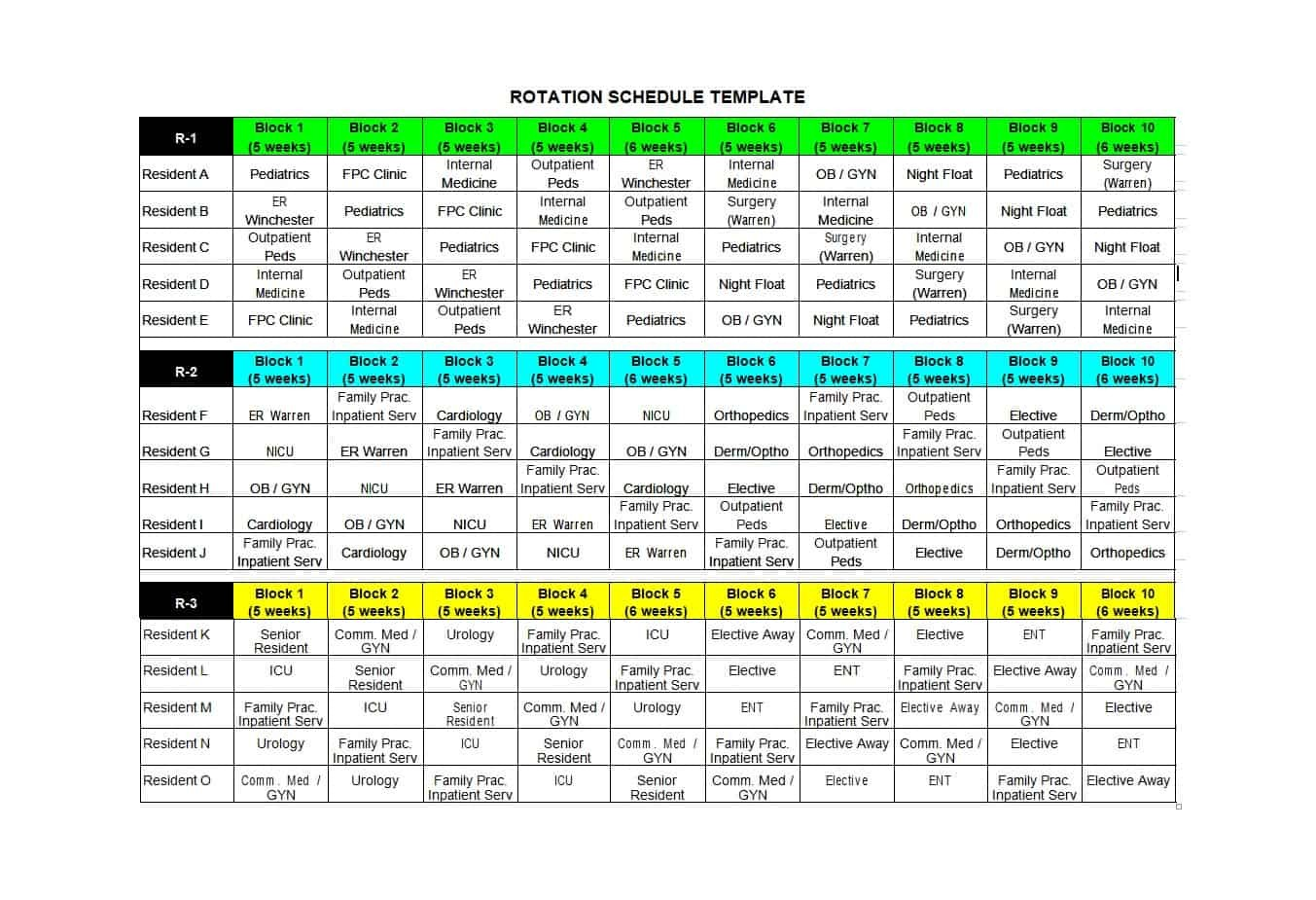 4 week rotation schedule template  50 FREE Rotating Schedule Templates for your Company ..