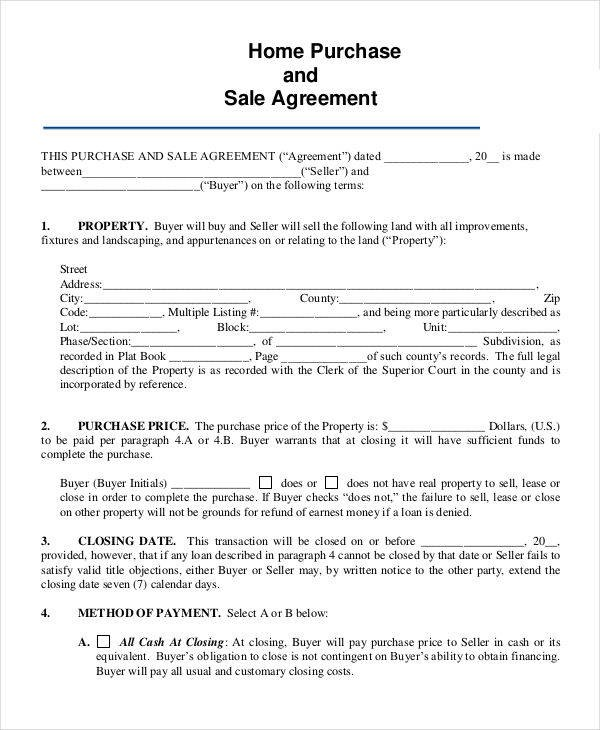 house sale contract template  8+ Home Sales Contracts Samples & Templates in PDF, Google ..