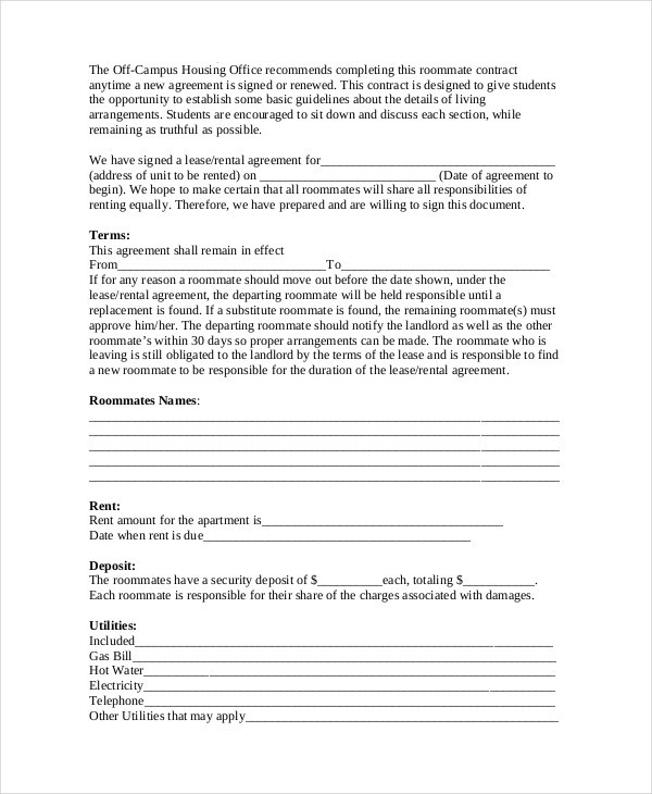roommate contract template  8+ Roommate Contract Templates - Word, Google Docs, Apple ..