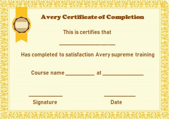 avery certificate template  Avery Certificate of Completion Template   Certificate of ..