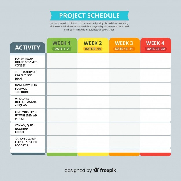 schedule template design  Colorful project schedule template with flat design | Free ..